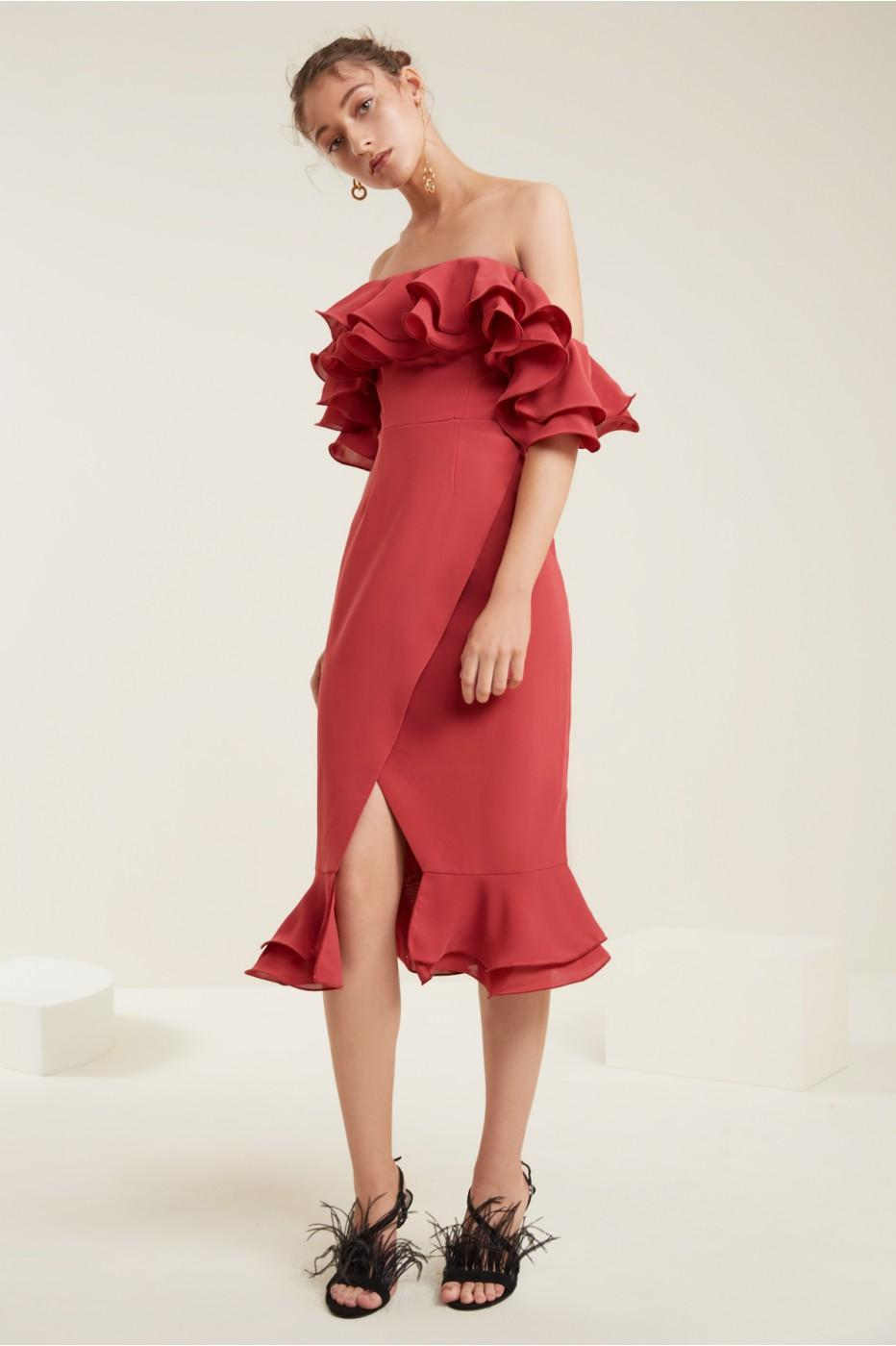 C/meo Collective Immerse Midi Dress In Rose