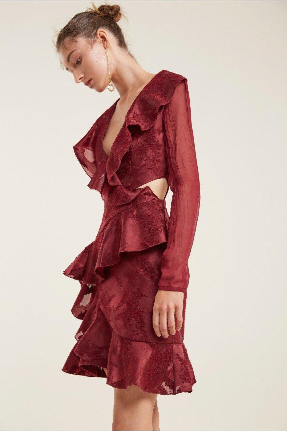 C/meo Collective Ember Long Sleeve Dress In Ruby