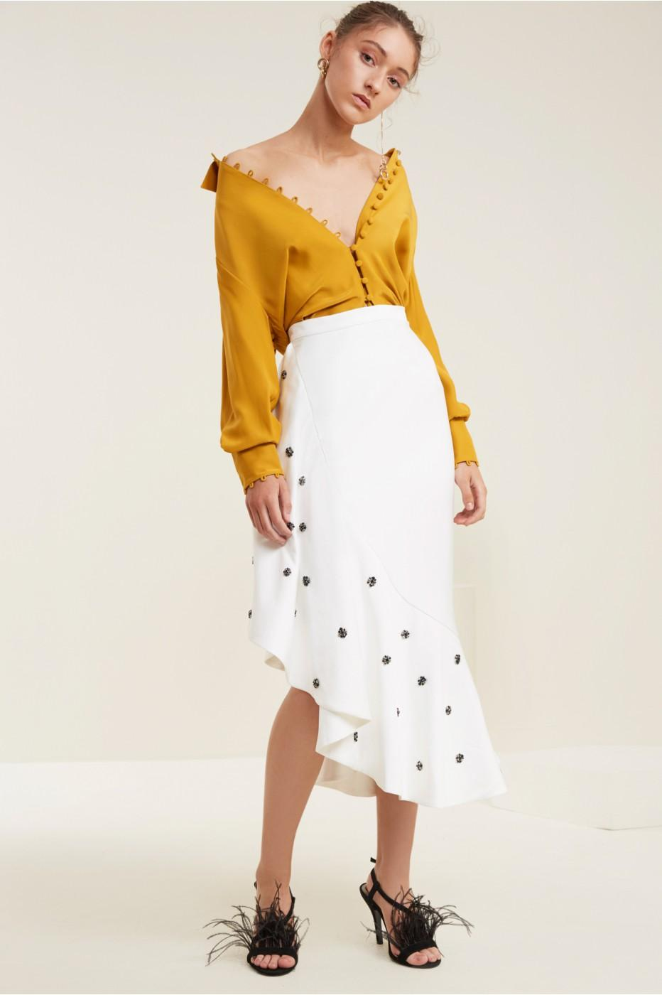 C/meo Collective Assemble Midi Skirt In Ivory