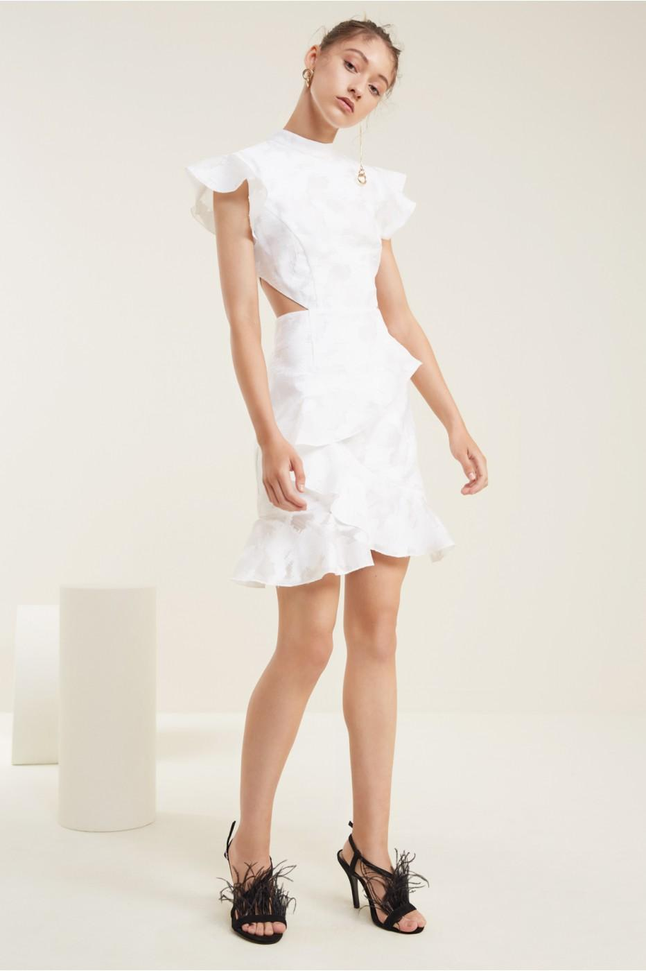 C/meo Collective Ember Short Sleeve Dress In Ivory