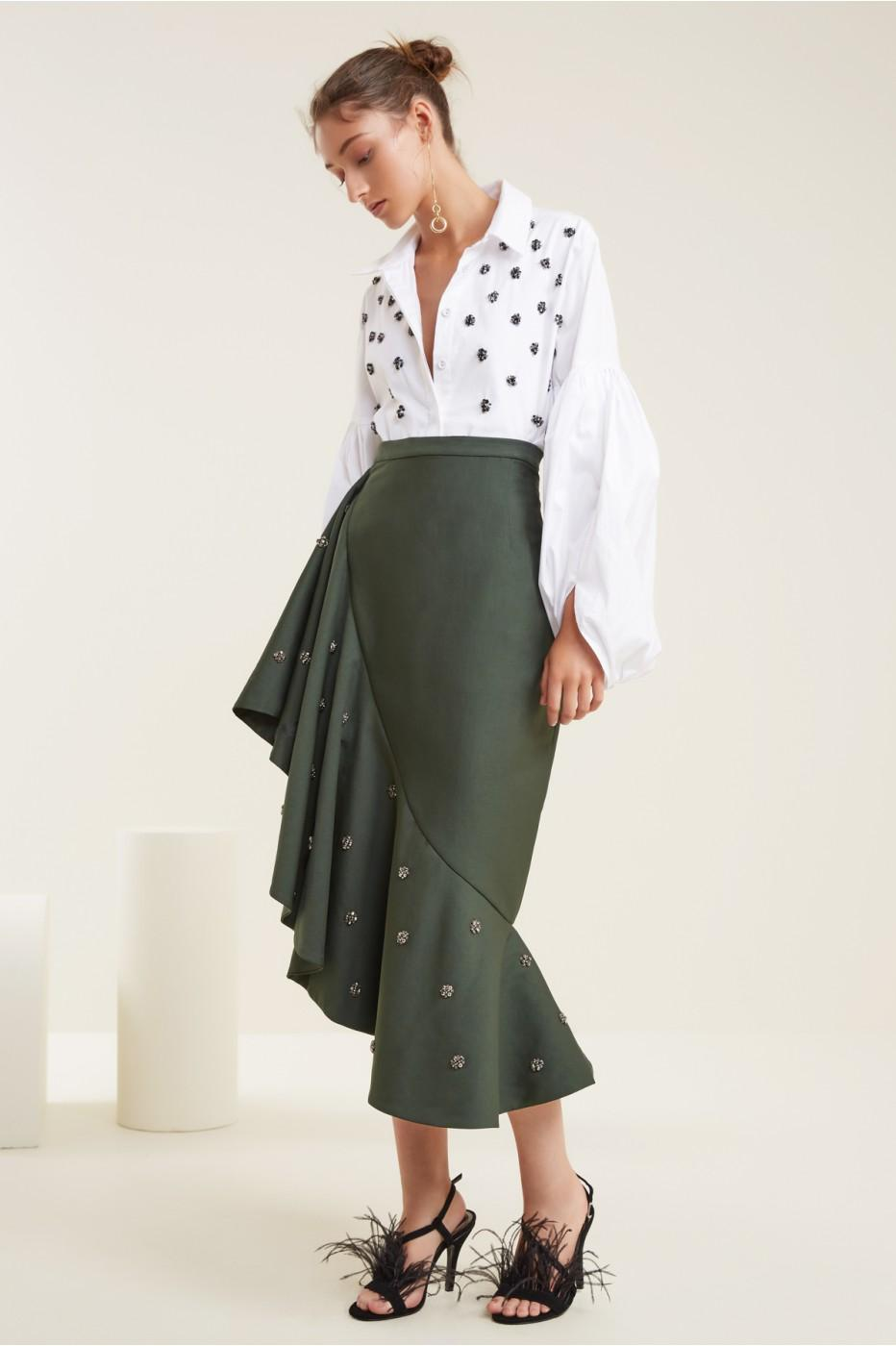 C/meo Collective Assemble Midi Skirt In Forest