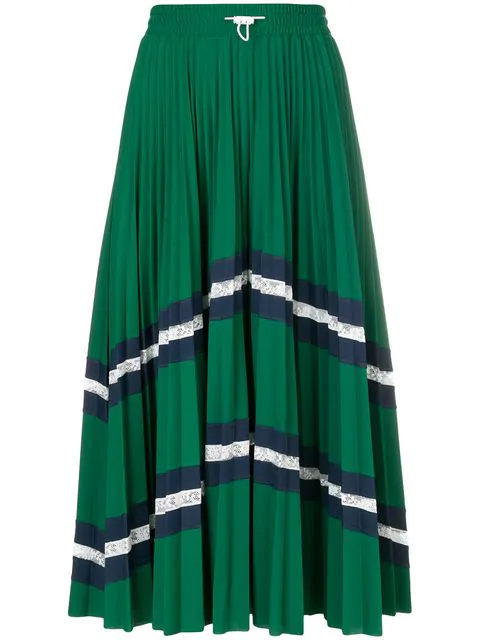 Valentino Patterned Pleated Midi Skirt In Green
