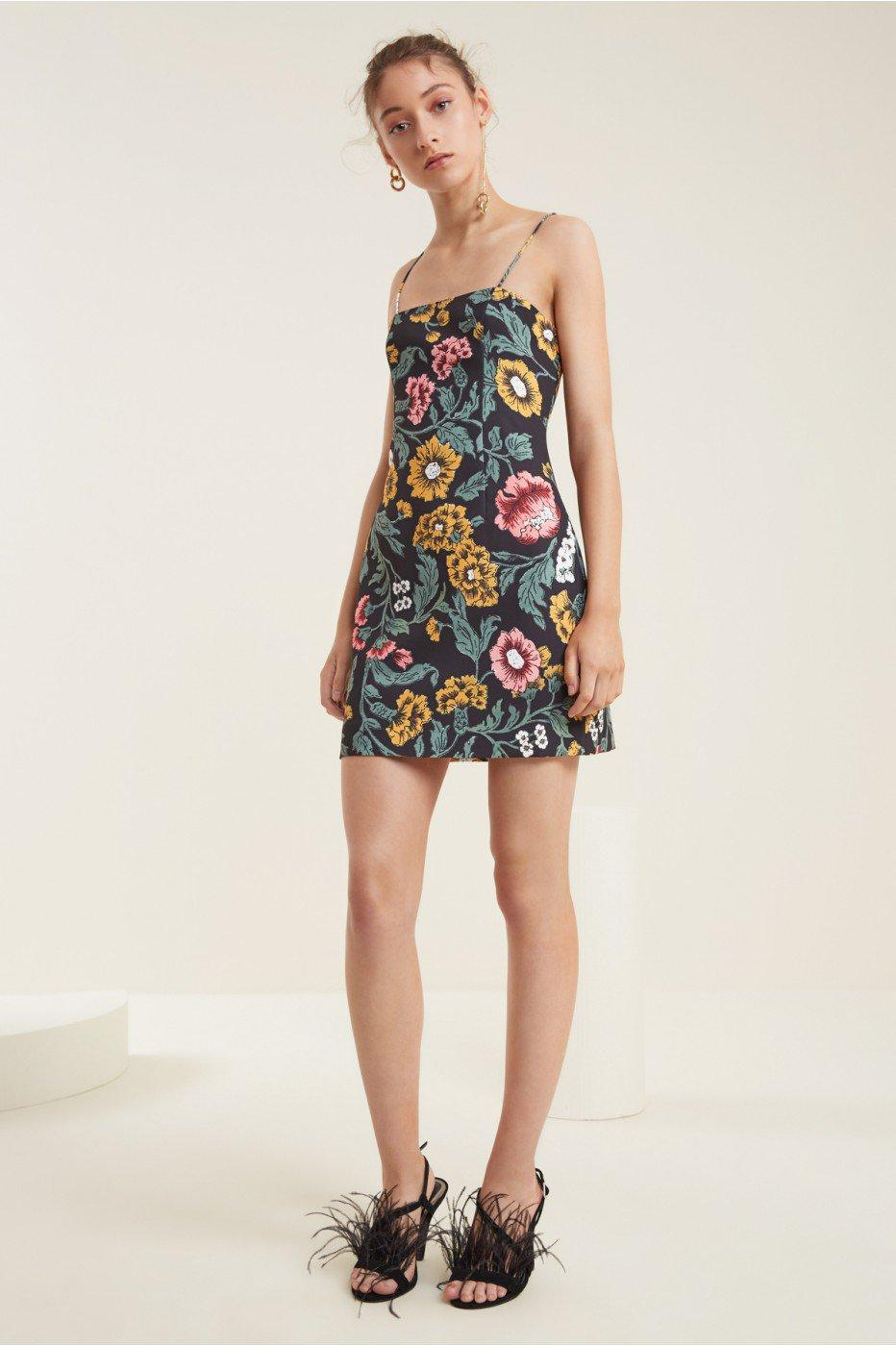C/meo Collective Immerse Dress In Black Floral
