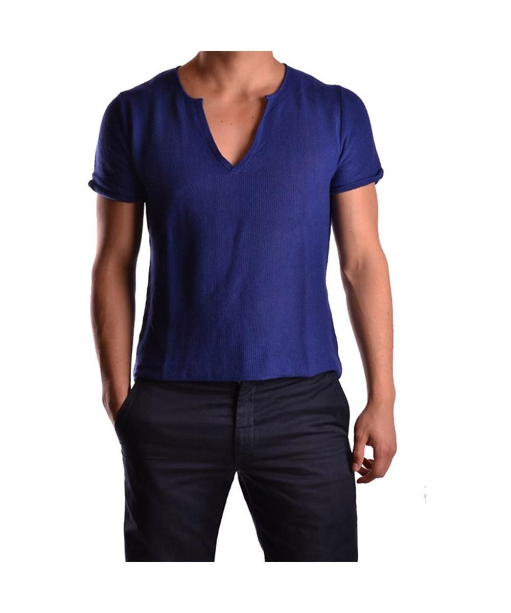 Daniele Alessandrini Men's  Blue Linen T-shirt
