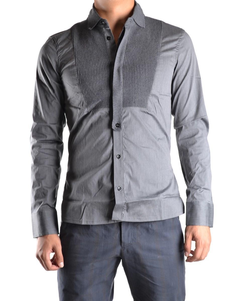 Dirk Bikkembergs Men's  Grey Cotton Shirt
