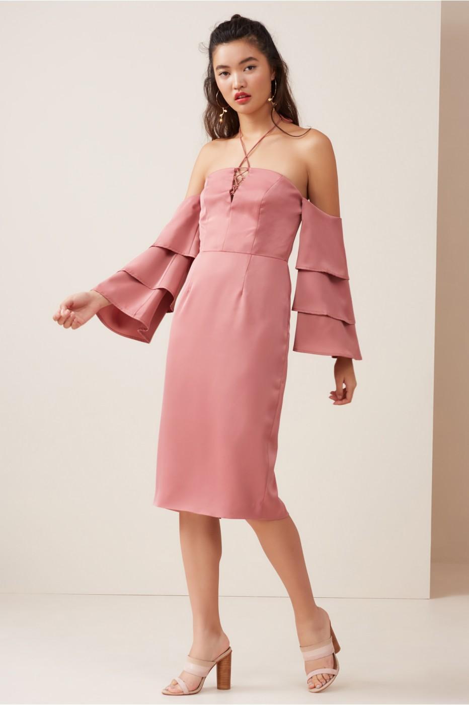 Finders Keepers Bloom Midi Dress In Dusty Sienna