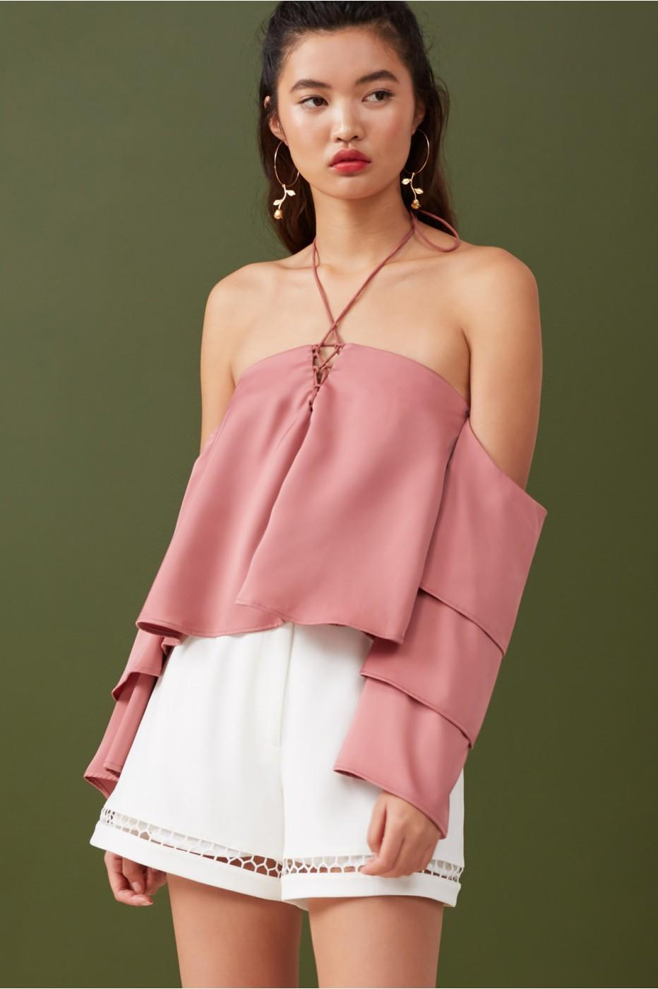 Finders Keepers Bloom Frill Top In Dusty Sienna