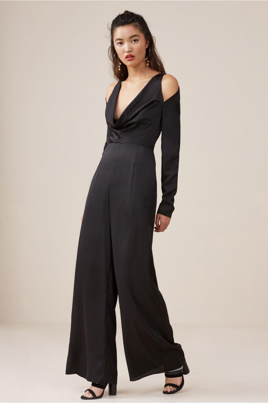 Finders Keepers Aspects Long Sleeve Jumpsuit In Black