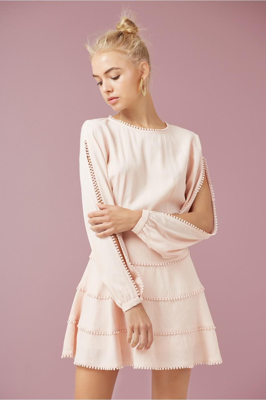Finders Keepers Salt Lake Mini Dress In Nude
