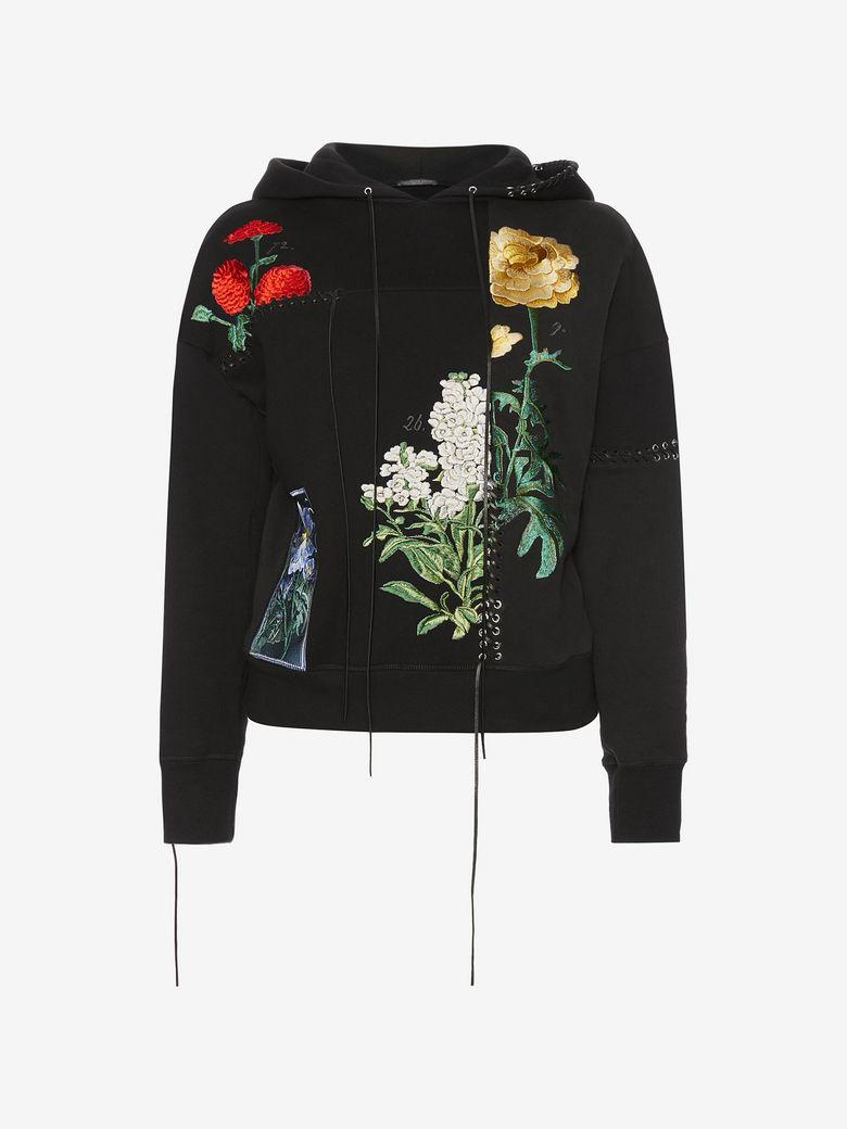Alexander Mcqueen Embroidered Hooded Sweatshirt In Black