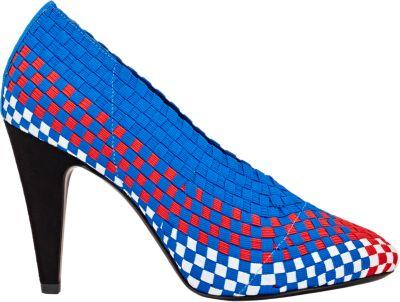 Alexander Wang Carla Woven Runway Sport Pump, Blue/Red In Optic White/Lacquer/Airtex