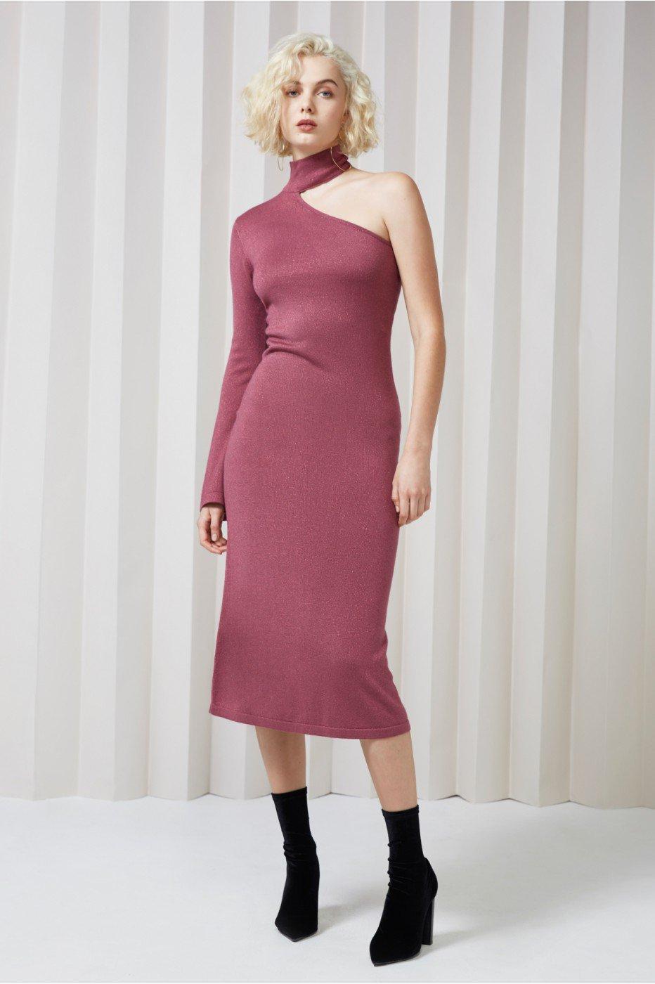 Keepsake Shimmer Knit Dress In Mulberry