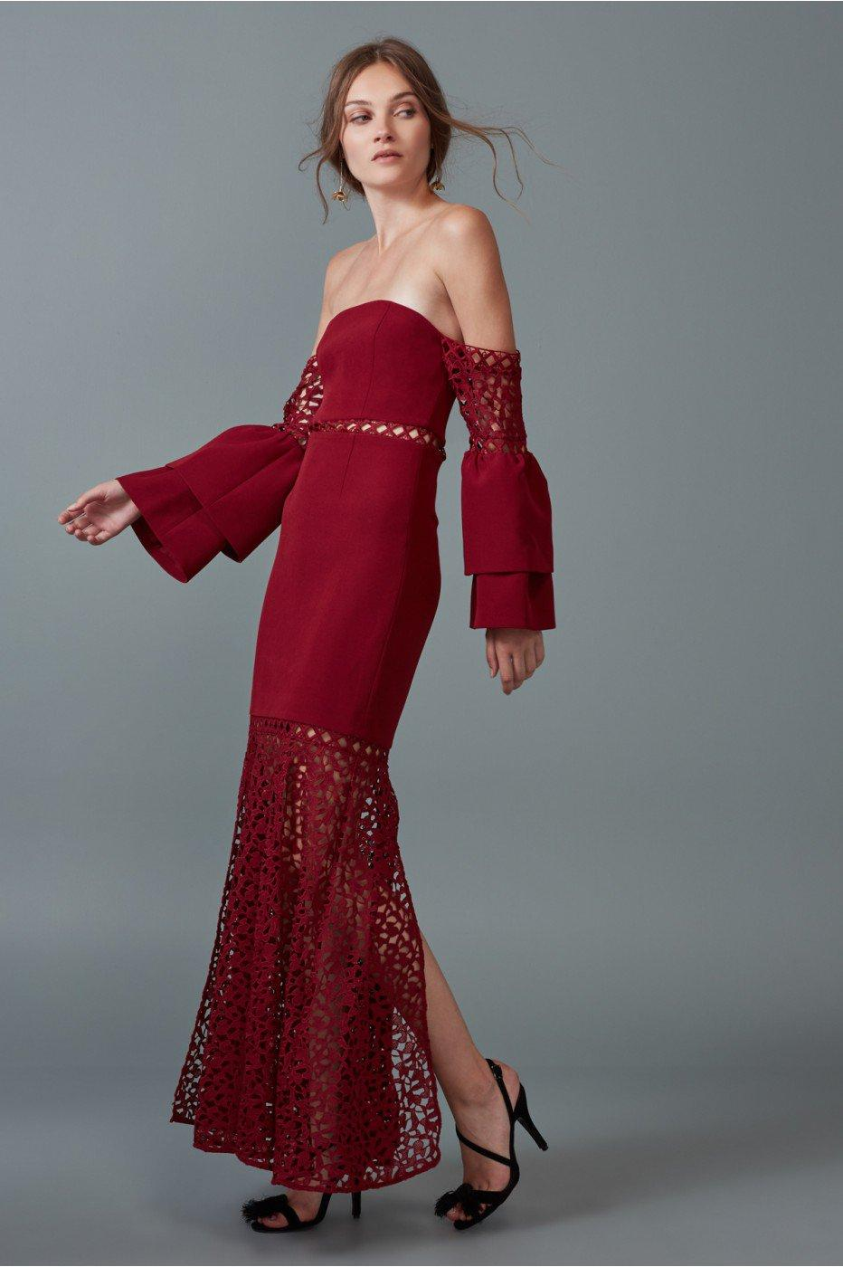 Keepsake Uplifted Gown In Burnt Red