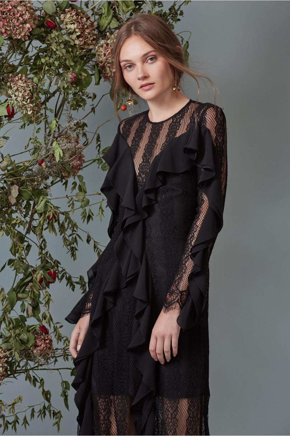 Keepsake Better Days Lace Gown In Black