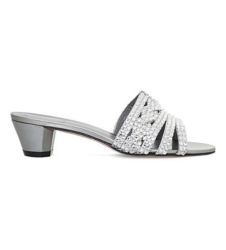 Gina Galaxy Metallic-leather Heeled Sandals In Silver