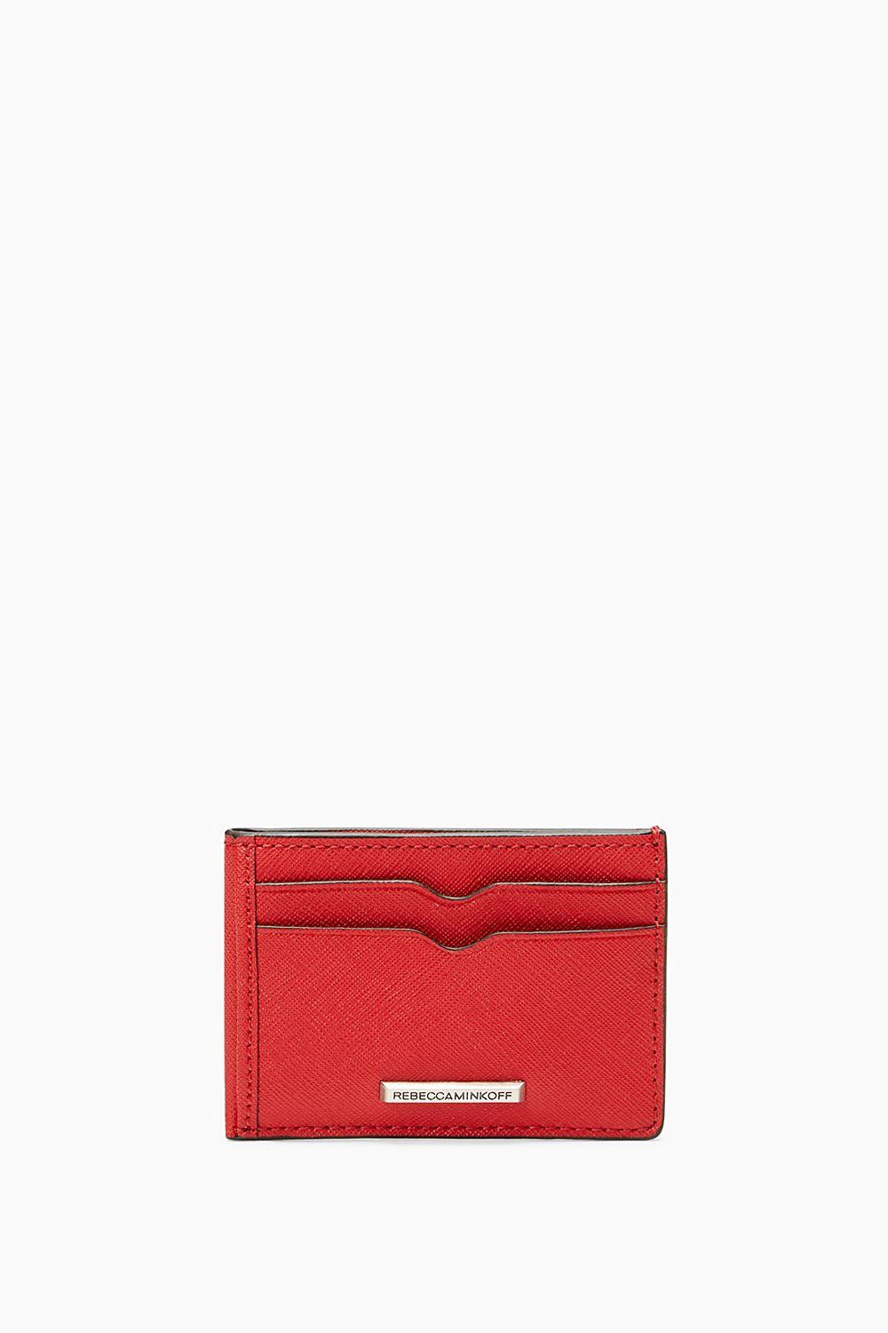 Rebecca Minkoff Saffiano Leather Metro Card Case In Carnation