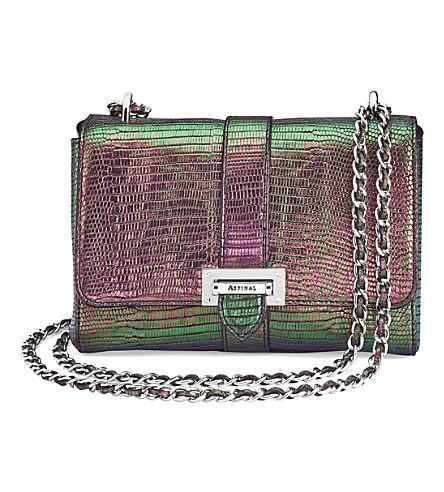 Aspinal Of London Lottie Iridescent Lizard-embossed Leather Shoulder Bag In Multi
