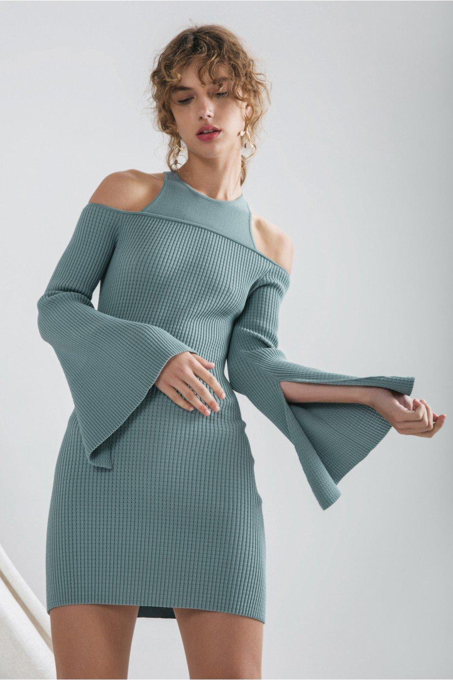 C/meo Collective Emerge Knit Dress In Sage