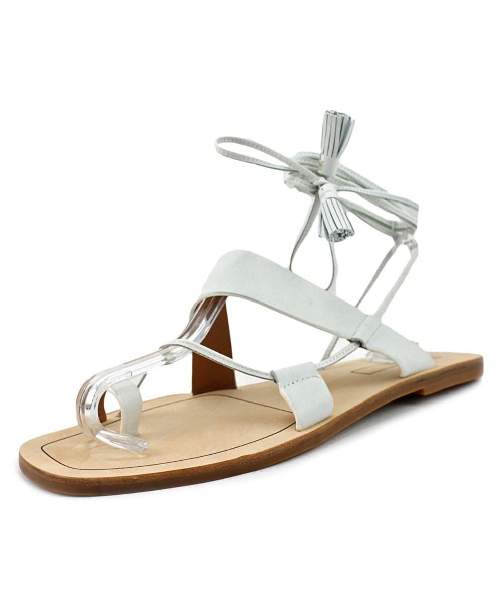 Elie Tahari Flash   Open Toe Leather  Gladiator Sandal In White