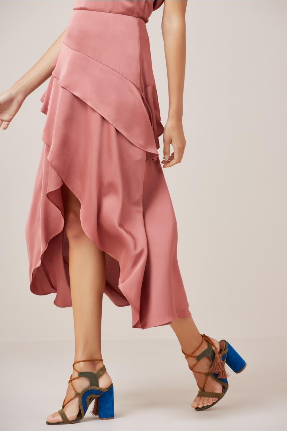 Finders Keepers Seasons Skirt In Soft Mauve