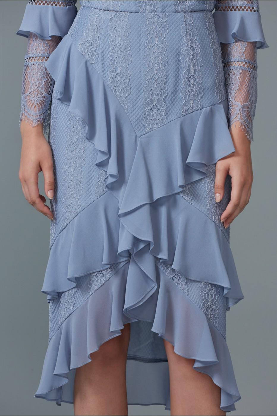 Keepsake Better Days Lace Skirt In Dusty Blue