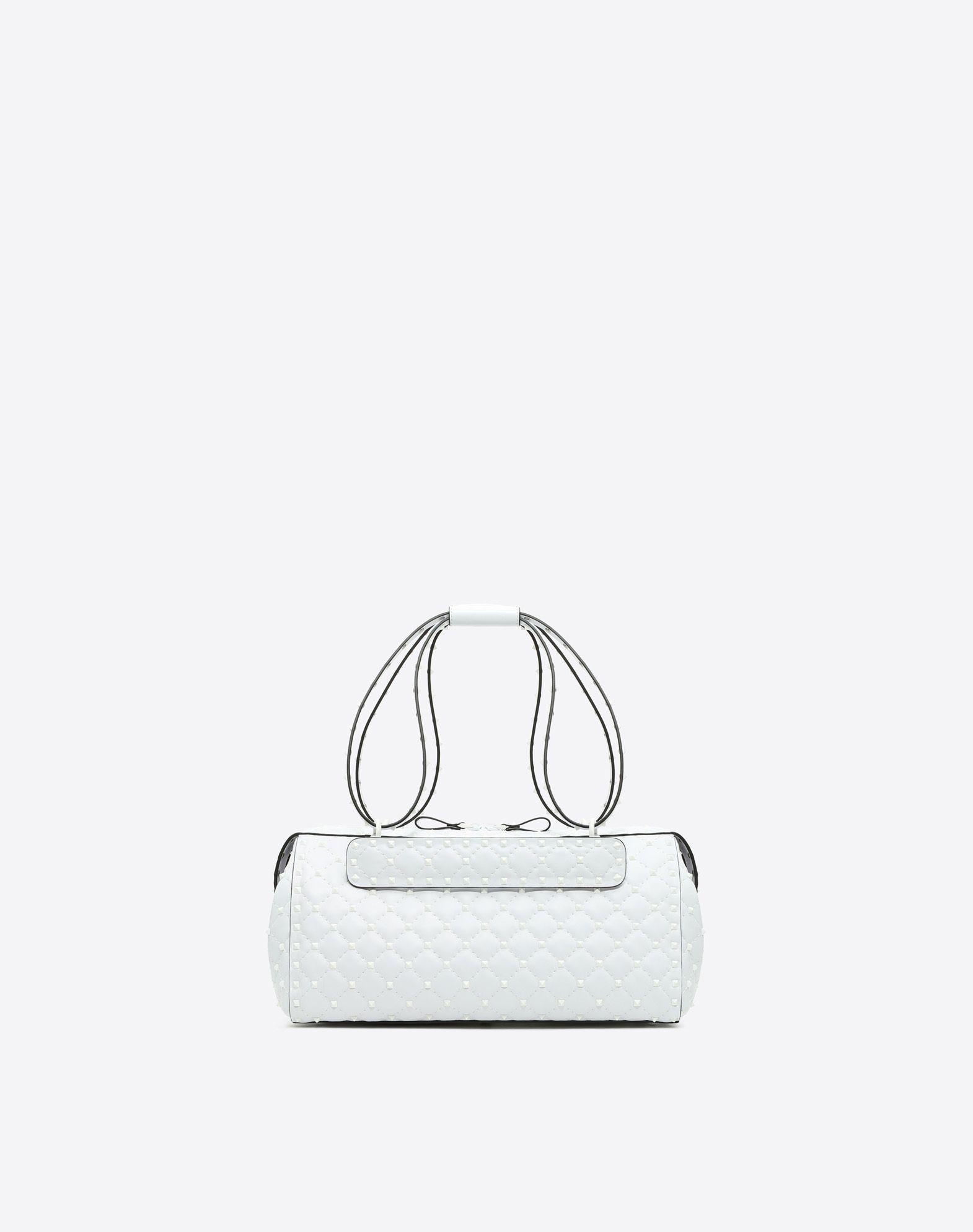 Valentino Garavani Free Rockstud Spike Duffle Bag In White