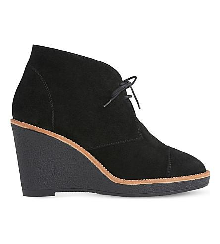 Lk Bennett Madi Suede Wedge Ankle Boots In Bla-black