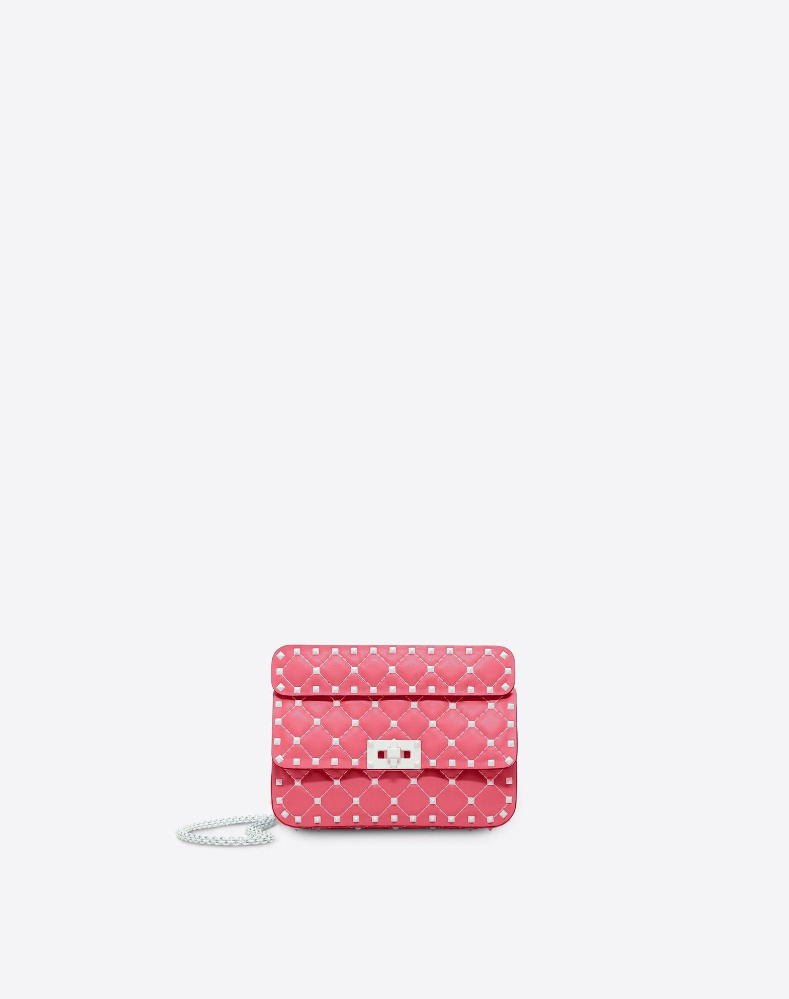 Valentino Garavani Free Rockstud Spike Small Chain Bag In Bright Pink