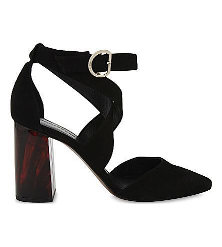 Whistles Taylor Cross-strap Suede Marble Heels In Black