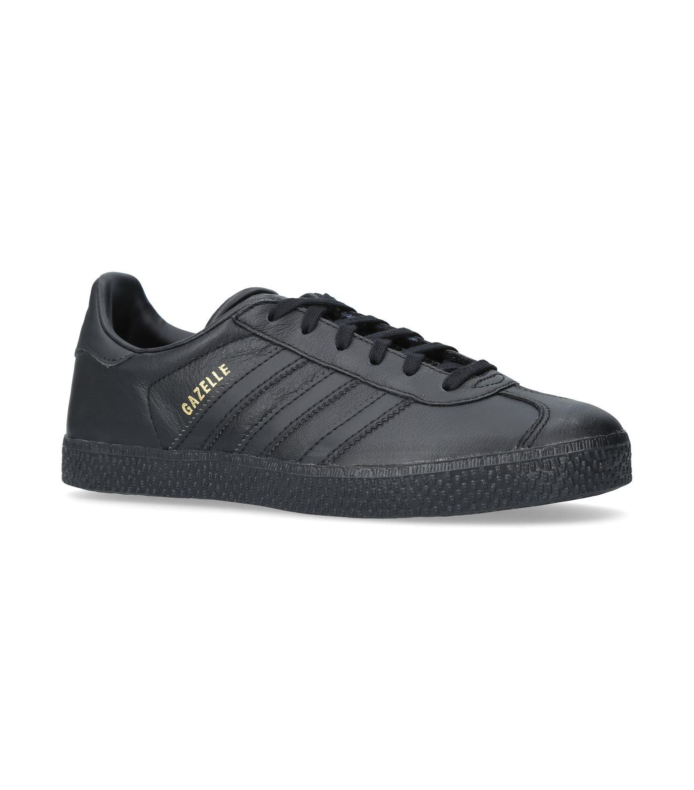 Adidas Originals Leather Gazelle Sneakers In Black