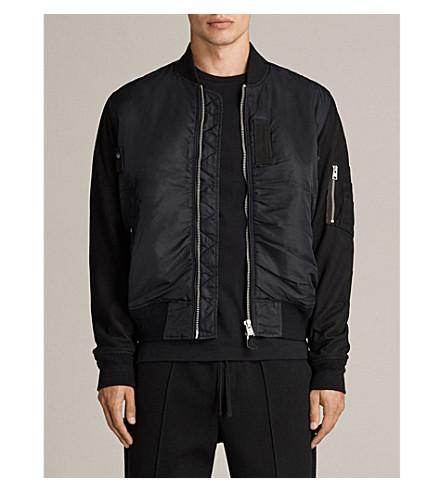 Allsaints Bate Shell And Leather Jacket In Black