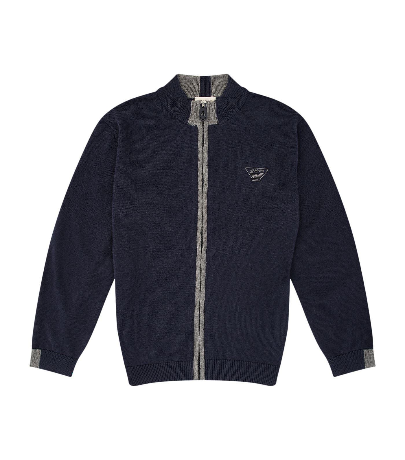 Armani Junior Contrast Zip Sweater In Navy