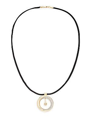 Roberto Coin Diamond 1.31 Tcw Cognac Diamond, Leather & 18k Yellow Gold Pendant Necklace In Black