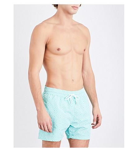 Frescobol Carioca Diamond-print Sports Swim Shorts In Lt Green