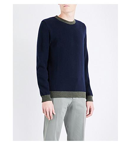 Paul Smith Contrasting-trims Knitted Wool Jumper In Navy