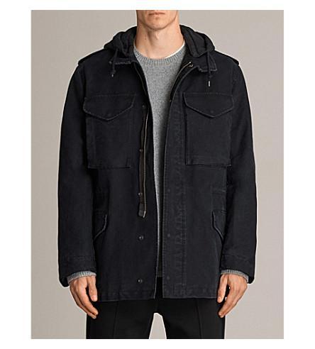 Allsaints Corp Detachable-hood Cotton Jacket In Black