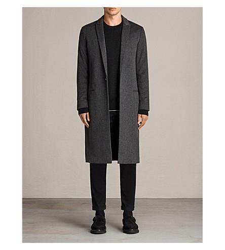 Allsaints Bradford Marl-pattern Wool And Silk-blend Coat In Black