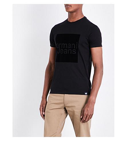 Armani Jeans Box Cotton T-shirt In Black