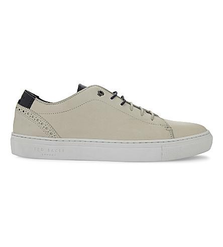 Ted Baker Duuke Brogue Detail Leather Trainers In White