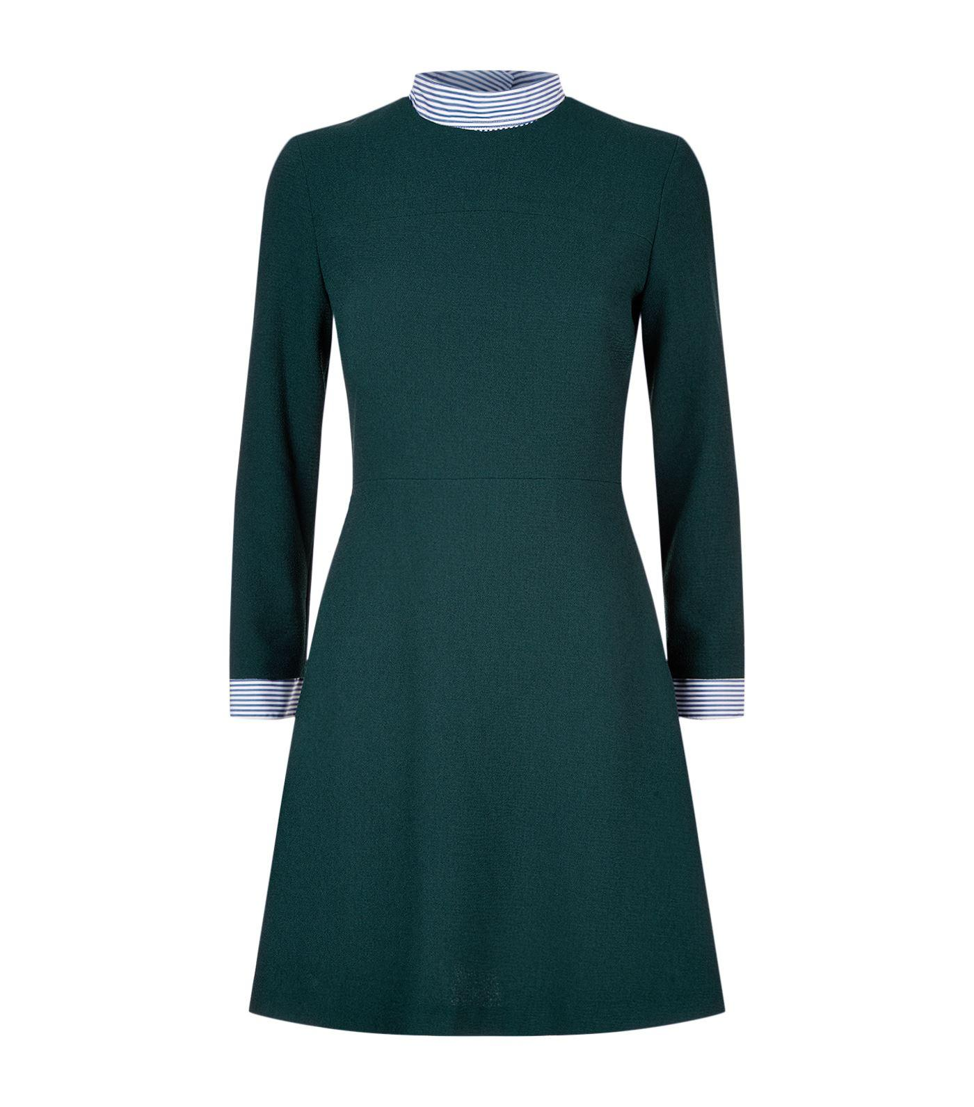 Sandro Faux Shirt A-line Dress In Green