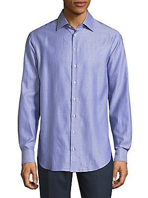 Armani Collezioni Fantasia Stripe Cotton Button-down Shirt