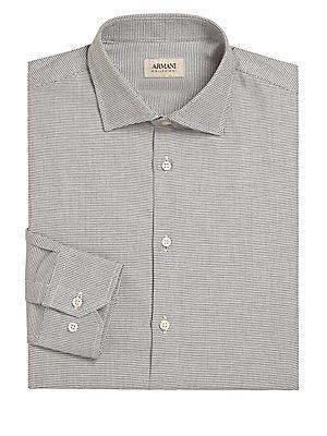 Giorgio Armani Regular-fit Micro Printed Shirt In Multi