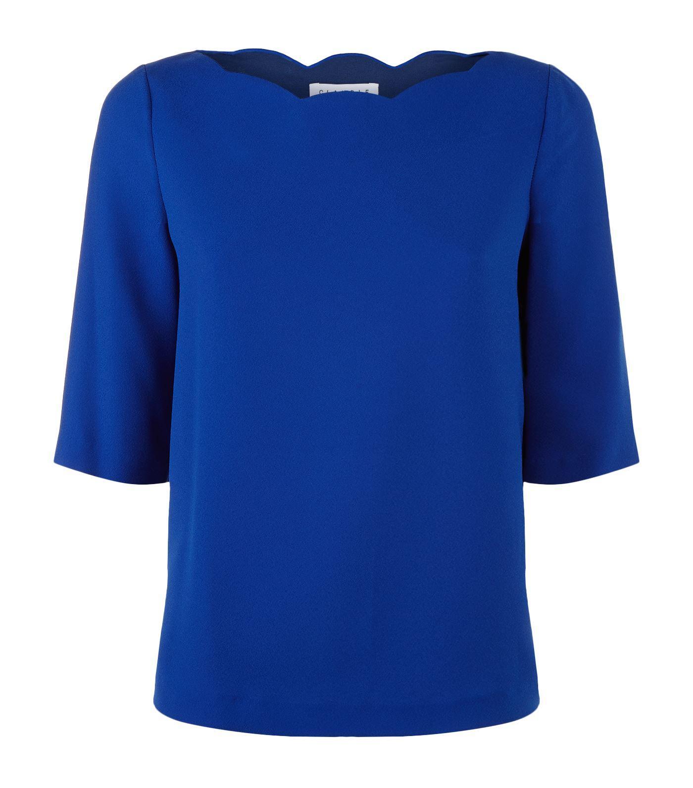 Claudie Pierlot Scalloped Neck Top In Blue