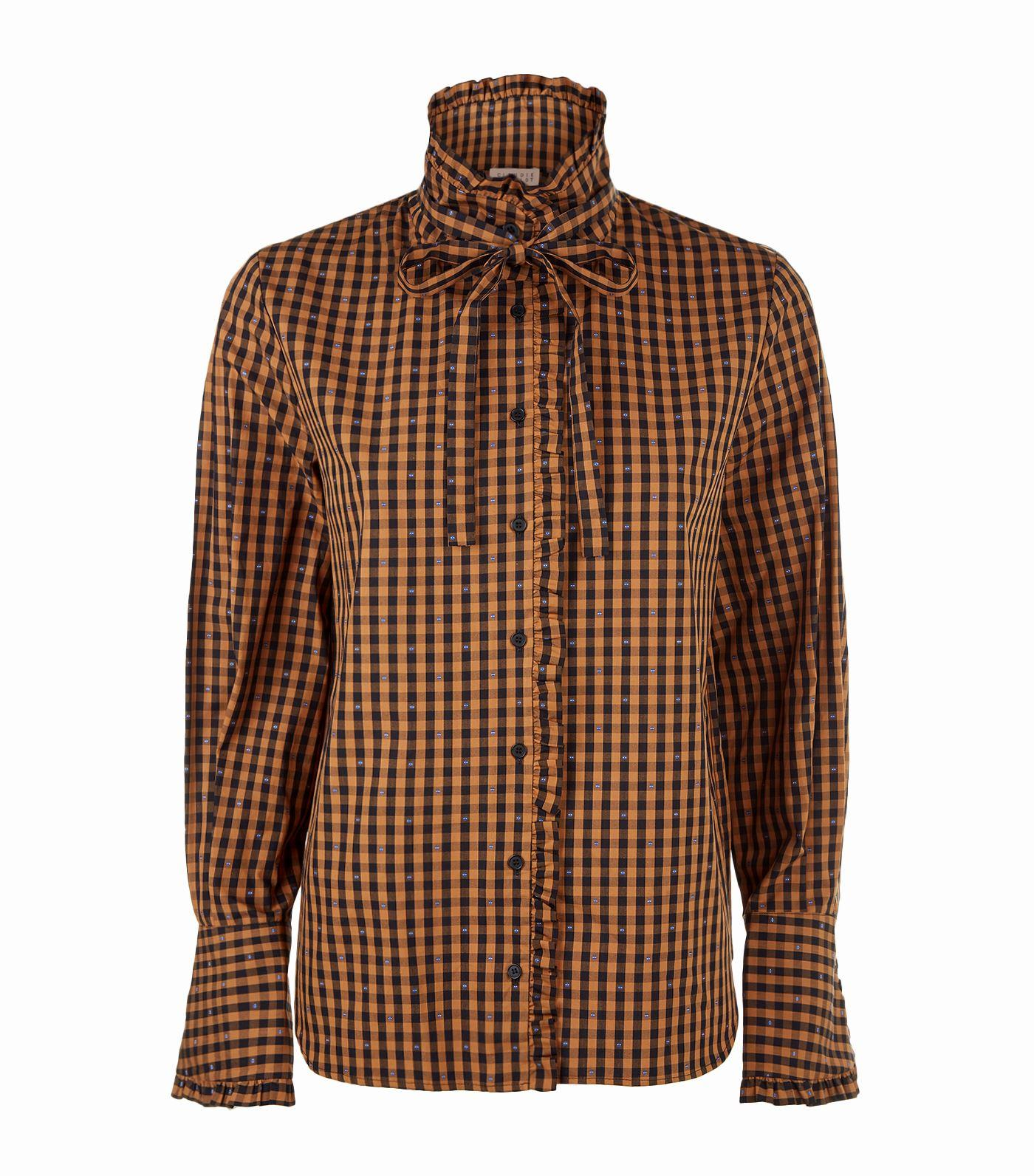 Claudie Pierlot Check Frilled Shirt In Nude