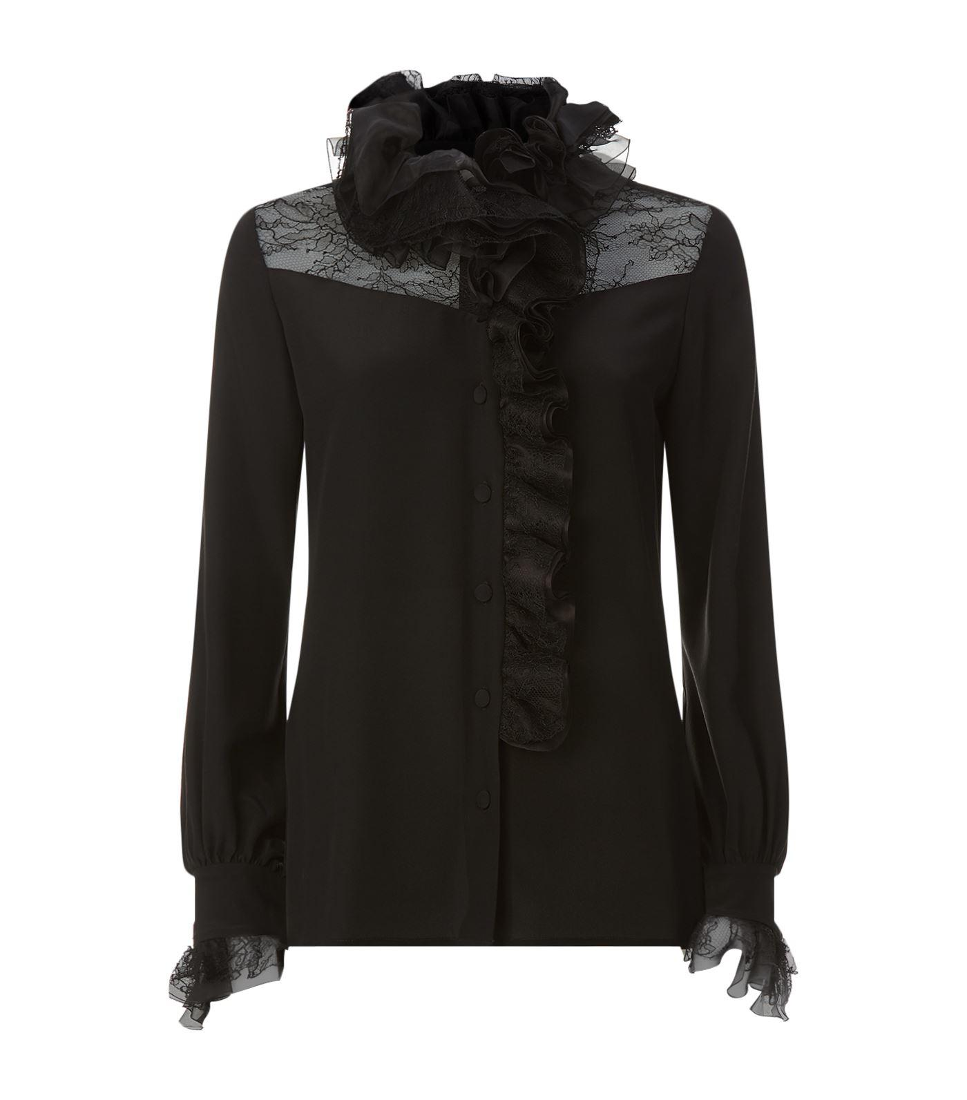 Lanvin Ruffle Lace Top In Black
