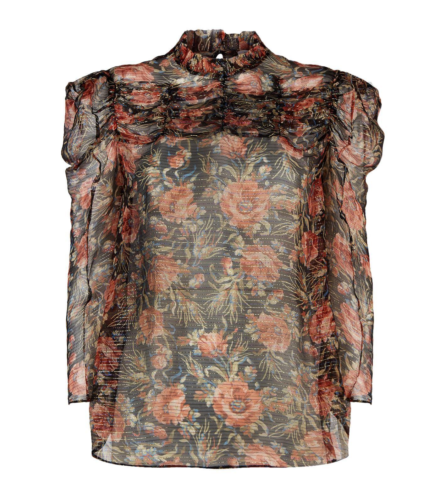 Sandro Amina Floral-print Metallic-stripe Top In Brown