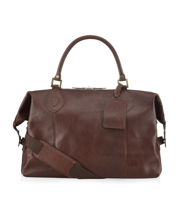 Barbour Leather Travel Explorer Bag In Chocolate