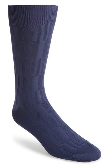 Cole Haan Bar Texture Socks In Black