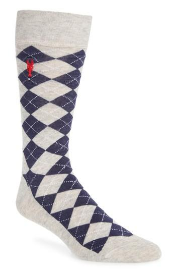 Cole Haan Pinch Argyle Socks In Black/ Red