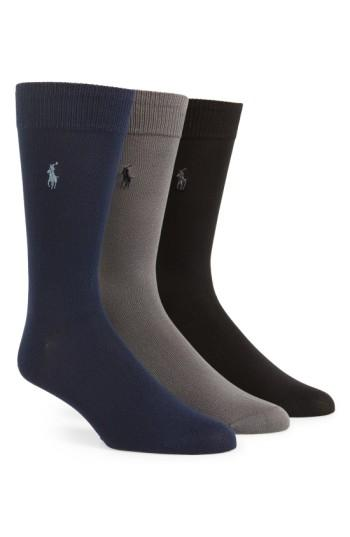 Polo Ralph Lauren Assorted 3-pack Supersoft Socks In Black Assorted